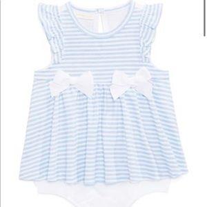5/$20 Baby skirted romper bow onesie blue white